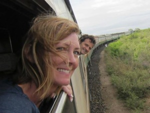 Shelley and Keith on a train in Kenya, 2012.