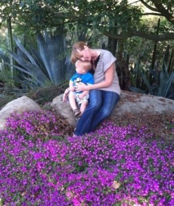 Me and my grandson in the backyard of our home exchange.