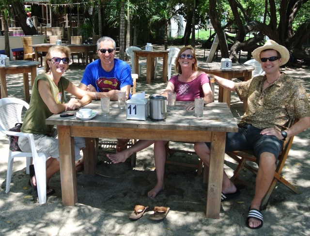 Hanging out with our friends Kathleen and Steve at a beach restaurant in Tamarindo, Costa Rica