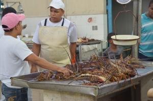 Giant lobsters at the Mercado del Mariscos (fish market)