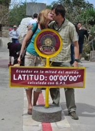 Kissing on the Equator in Ecuador, July 2013